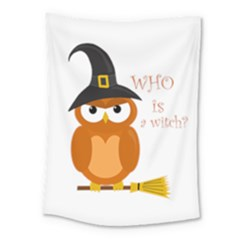 Halloween Orange Witch Owl Medium Tapestry