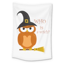 Halloween Orange Witch Owl Large Tapestry