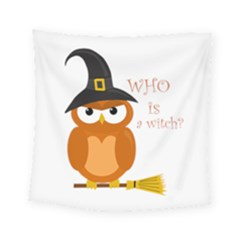 Halloween Orange Witch Owl Square Tapestry (small)