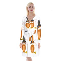 Halloween Orange Witch Owl Long Sleeve Velvet Front Wrap Dress