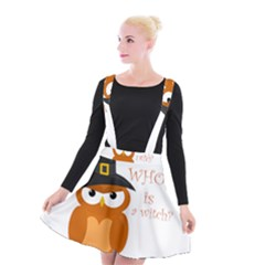 Halloween Orange Witch Owl Suspender Skater Skirt