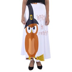 Halloween Orange Witch Owl Flared Maxi Skirt
