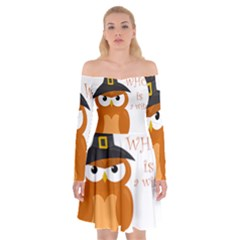 Halloween Orange Witch Owl Off Shoulder Skater Dress