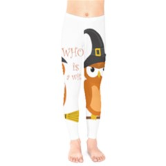 Halloween Orange Witch Owl Kids  Legging