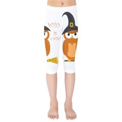 Halloween Orange Witch Owl Kids  Capri Leggings