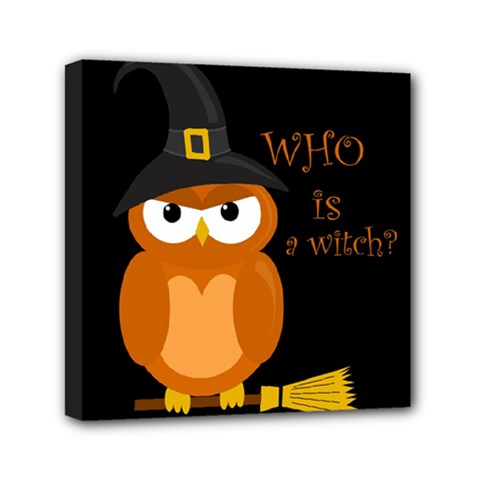 Halloween Orange Witch Owl Mini Canvas 6  X 6