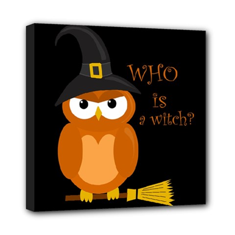 Halloween Orange Witch Owl Mini Canvas 8  X 8