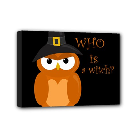 Halloween Orange Witch Owl Mini Canvas 7  X 5