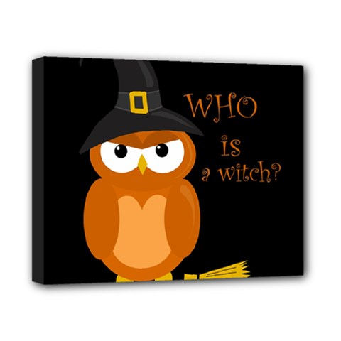 Halloween Orange Witch Owl Canvas 10  X 8