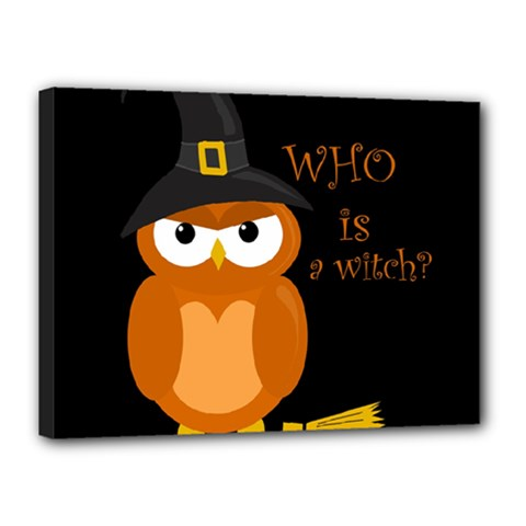 Halloween Orange Witch Owl Canvas 16  X 12