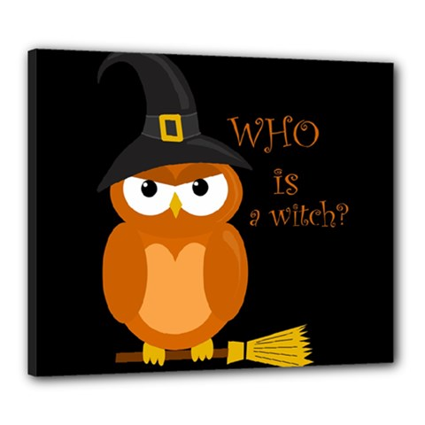 Halloween Orange Witch Owl Canvas 24  X 20