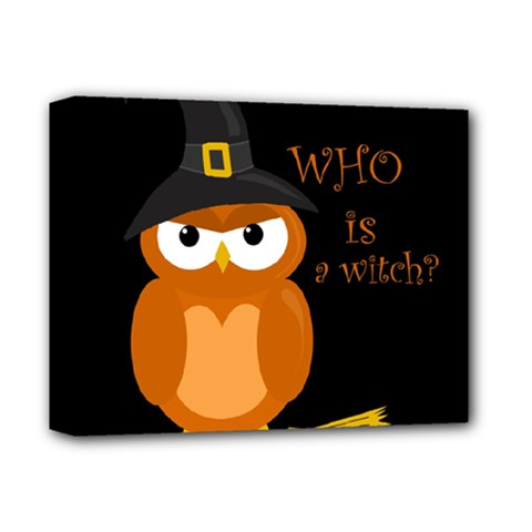 Halloween Orange Witch Owl Deluxe Canvas 14  X 11