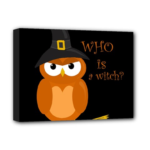 Halloween Orange Witch Owl Deluxe Canvas 16  X 12