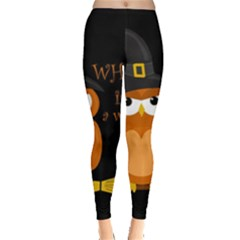 Halloween Orange Witch Owl Leggings