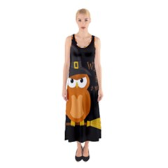 Halloween Orange Witch Owl Sleeveless Maxi Dress