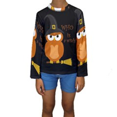 Halloween Orange Witch Owl Kids  Long Sleeve Swimwear