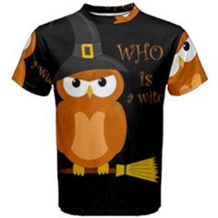 Halloween Orange Witch Owl Men s Cotton Tee