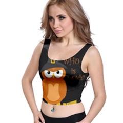 Halloween Orange Witch Owl Crop Top