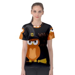 Halloween Orange Witch Owl Women s Sport Mesh Tee
