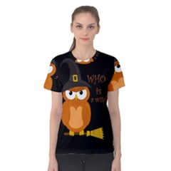Halloween Orange Witch Owl Women s Cotton Tee