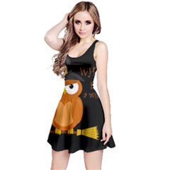 Halloween Orange Witch Owl Reversible Sleeveless Dress