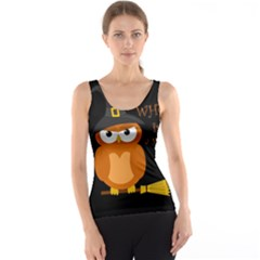 Halloween Orange Witch Owl Tank Top