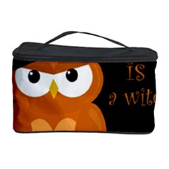 Halloween Orange Witch Owl Cosmetic Storage Case