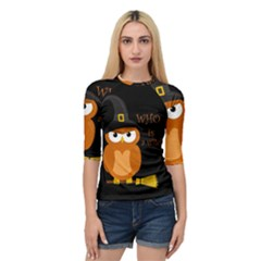 Halloween Orange Witch Owl Quarter Sleeve Raglan Tee