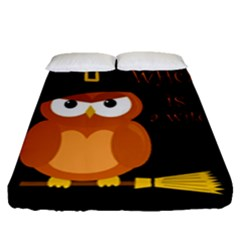 Halloween Orange Witch Owl Fitted Sheet (queen Size)