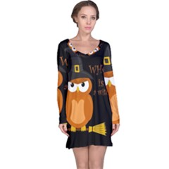 Halloween Orange Witch Owl Long Sleeve Nightdress