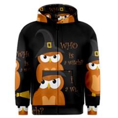Halloween Orange Witch Owl Men s Zipper Hoodie