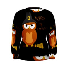 Halloween Orange Witch Owl Women s Sweatshirt