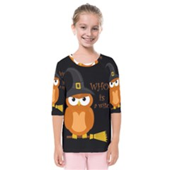 Halloween Orange Witch Owl Kids  Quarter Sleeve Raglan Tee