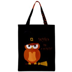 Halloween Orange Witch Owl Zipper Classic Tote Bag