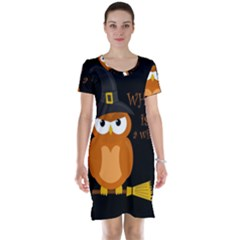 Halloween Orange Witch Owl Short Sleeve Nightdress