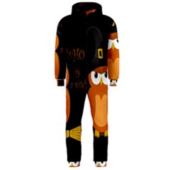 Halloween Orange Witch Owl Hooded Jumpsuit (men)