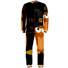 Halloween Orange Witch Owl Onepiece Jumpsuit (men)