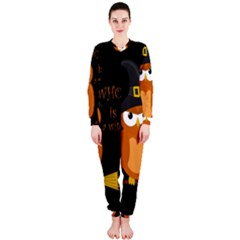Halloween Orange Witch Owl Onepiece Jumpsuit (ladies)