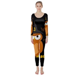 Halloween Orange Witch Owl Long Sleeve Catsuit