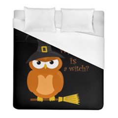 Halloween Orange Witch Owl Duvet Cover (full/ Double Size)