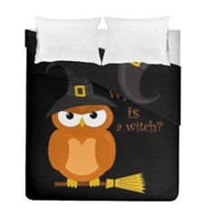 Halloween Orange Witch Owl Duvet Cover Double Side (full/ Double Size)