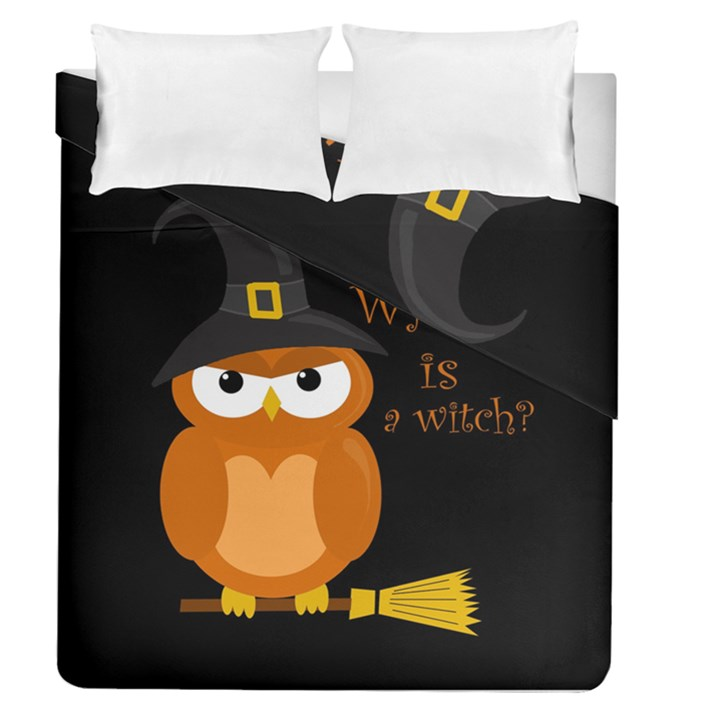 Halloween orange witch owl Duvet Cover Double Side (Queen Size)