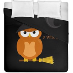 Halloween Orange Witch Owl Duvet Cover Double Side (king Size)