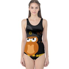 Halloween Orange Witch Owl One Piece Swimsuit