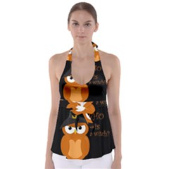 Halloween Orange Witch Owl Babydoll Tankini Top