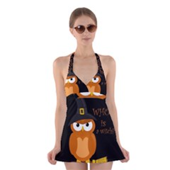 Halloween Orange Witch Owl Halter Swimsuit Dress