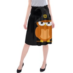 Halloween Orange Witch Owl Midi Beach Skirt