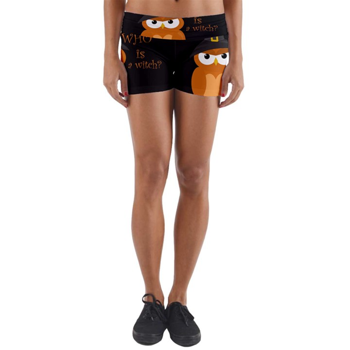 Halloween orange witch owl Yoga Shorts