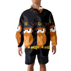 Halloween Orange Witch Owl Wind Breaker (kids)