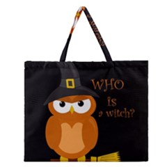 Halloween Orange Witch Owl Zipper Large Tote Bag